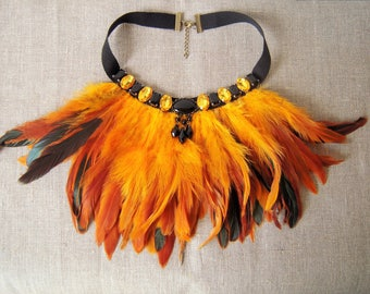 "Bib necklace with feathers ""The Phoenix"""