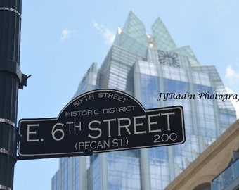E. 6th Street Sign Historic District, Austin, Texas with Owl Building Photography travel photo / wall decor / home decor/