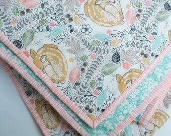 fawn baby quilt, fawn kids bedding, deer crib quilt, deer toddler quilt, woodland crib quilt, woodland baby quilt, modern baby quilt