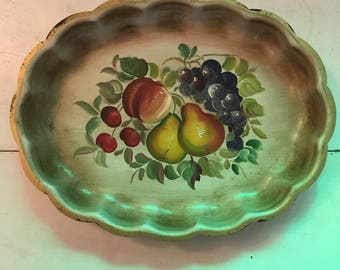 Vintage Nashco Toleware with Hand Painted Fruit