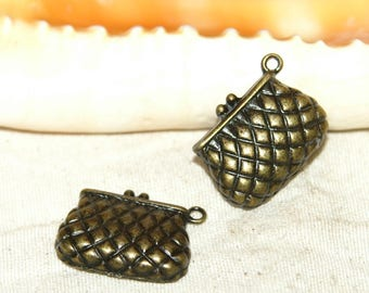 Pendants 2 X 29 X 14 mm bronze quilted bags