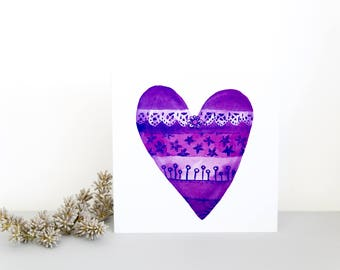 Heart Design Card, Purple Love Heart, Great for BFF and Girlfriend, Wedding Anniversary Card, Favorite Color is Purple, Colour Wheel Love