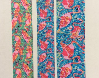 """Lilly inspired Flamingo Peel and Eat  grosgrain ribbon  7/8"""" 1"""" 1.5"""""""