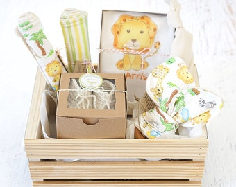 Baby gift basket fox baby clothes gender neutral baby baby gift basket personalize babys name organic baby gift basket lion theme baby shower gift baby hospital gift safari coming home negle Choice Image