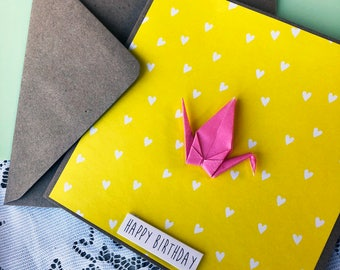 Happy Birthday Card - Pink Origami Crane, Heart, Girl, Bright, Yellow