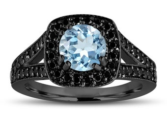 Aquamarine And Fancy Black Diamonds Engagement Ring 14K Black Gold Vintage Style 1.46 Carat Halo Pave Handmade Certified