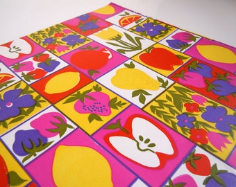 1980s All Occasions Fruit Wrapping Paper Colorful Apple Lemon Strawberry Gift Wrap Paper