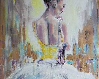 Original ballerina painting,abstract ballerina,ballerina oil painting,ballerina art,ballet painting,ballet art,ballerina in gold,ballerina