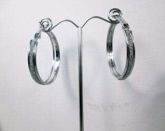 Large Silver Hoop Earrings Hinged Hoop Earrings Large Silver Hoops Stirrup Earrings Large Silver Circle Earrings Sparkle Glamour Earrings