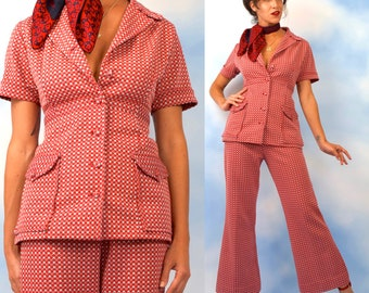 Vintage 60s 70s Red White and Blue Micro Polka Dot 2-Piece Leisure Suit (size medium, large)