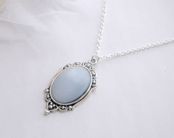 Blue Moonstone Necklace, Sterling Silver Necklace, Blue Glass Moonstone Necklace, Blue Moonstone Pendant, Gift for Her, Moonstone Jewellery
