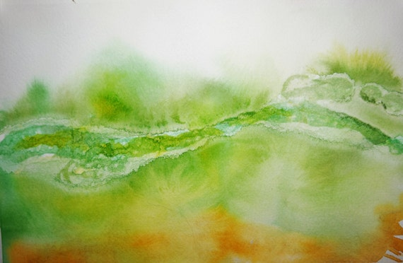 Painting, watercolor, Untitled Abstract