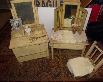 Set of Antique Doll Furniture, Dresser, Dressing Table & Chair - Final Reduction from 189 to 100