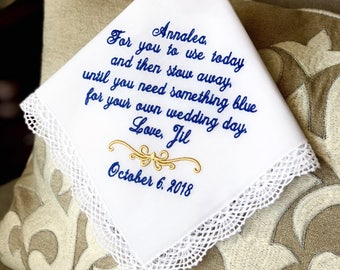 Junior Bridesmaid - Flower Girl  Gift- Something BLUE for your own WEDDING day - Gift - Flower Girl - Wedding Day Hankerchief