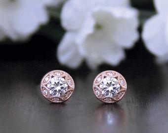 Art Deco Stud Earrings-1.24 ct.tw Brilliant Cut Diamond Simulant-Bridal Earrings-Bridesmaids Gift-Rose Gold Plated-Sterling Silver [6057RG]