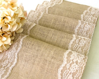 Burlap and lace table runner Wedding Table Runner Rustic Wedding table decor burlap and lace Wedding reception handmade party table decor