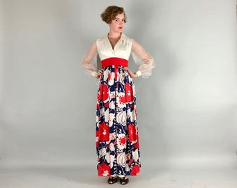 Vintage 1960s Dress | 60s Red White and Blue Flower Power Maxi Gown with Sheer Puff Sleeves | Small
