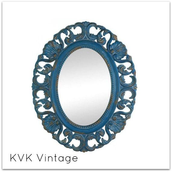 BOHO Vintage Distressed Blue Wall Mirror - Wall Mirror - Mirror - Decorative Mirror