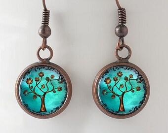 Copper Tree Earrings : Dangle Earrings. Copper Earrings. Studs. Art. Handmade Jewelry. Trees. Jewellery