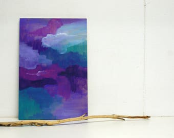 Moods shades abstract painting on small wooden panel - original - warm purple blue green - small panel - flexible decoration