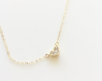 Beautiful Delicate Tiny Heart Necklace with 14K Gold Filled Chain