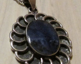 Sterling Silver and Blue Stone Necklace from Mexico
