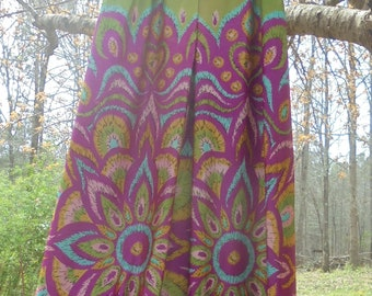 Floral 70s   jumper  Fred Perlberg vintage green purple  hippie boho psychedelic  festival small from vintage opulence on Etsy