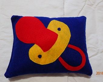 Baby pacifier, felt pillow