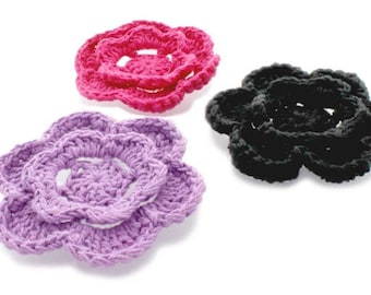 Crochet cotton flower 3 inch 2 layered flowers  12 petals total 6 per layer DIY craft supplies Pick colors white black light pink lavender
