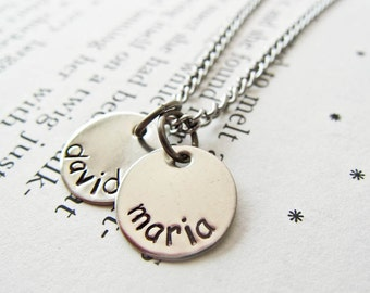 Hand Stamped Initial Letter Necklace with Two Discs - Perfect Personalized Gift for Moms, Mommy, Mummy, Mum