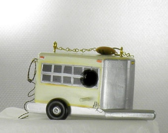 Cream Horse Trailer Birdhouse , Handmade , Hand Painted , with Tail Ends in Back