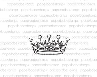 Vintage Crown - Paperbabe Stamps - Photopolymer Stamp - Ornate Crown Image for Mixed Media and paper crafting