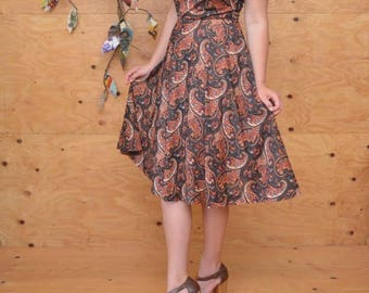 Vintage 70's Black & Rust Red Paisley A-line sheer Summer Evening Boho Dress SZ S/M