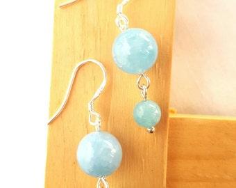 Aventurine earrings, aventurine bead earring, aventurine earing, blue earring, beaded earing, earring, vergo earring, zodiac stone