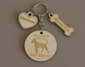 Bull Terrier dog key ring. Personalised engraved wooden dog lover keyring, key chain, bag charm L21