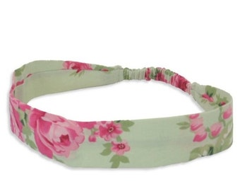 """Fabric Headband - Barefoot Roses- Pick your size - fit toddlers to adults - 1-1/2"""" wide"""