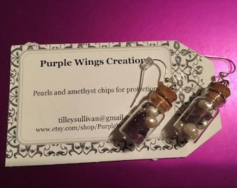 Pearl and Amethyst Chip Protection Earrings