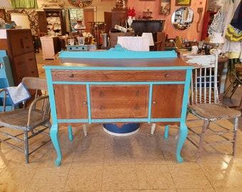 Vintage Buffet Sideboard Tiger Oak Turquoise TV Stand