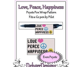 Bead Pattern Peyote(Pen Wrap/Cover)-Love, Peace, Happiness