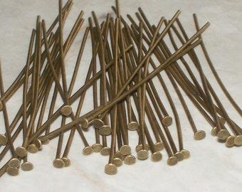 "50 Antiqued Bronze Flat Head Pins - 1-1/8"""