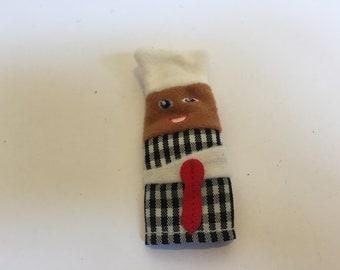 Vintage Finger Puppet! Felt Finger Puppet Cook/ Chef- Rare Vintage Finger Puppet