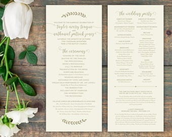 "Custom Designed Printable or Printed Wedding Programs (4""x9"") - Curly Script & Branches - Weddings and Rehearsal Dinners"