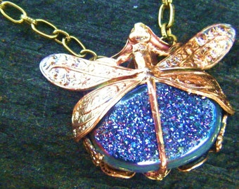 The Druzy Dragonfly Necklace-Harvest Pattern Art Nouveau with Mysterious Irridescent Rainbow Druzy Quartz