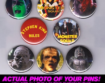 """Monster Squad - 1.5"""" Pins / Buttons (poster print toy art dracula wolfman universal black lagoon scifi horror)"""