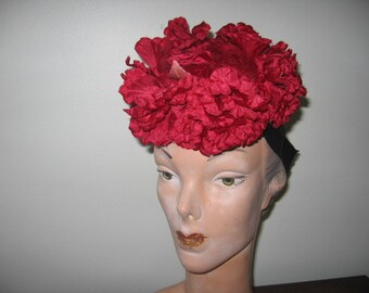 1940's-50's Red Flower Fascinator!