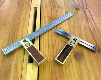 Metric brass double square with wood inlay 150 or 300mm