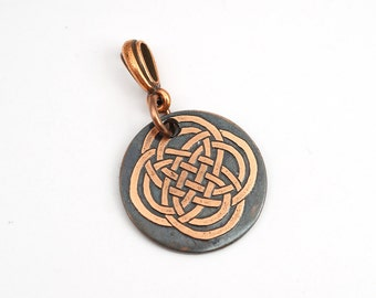 Small copper Celtic knot pendant, round etched jewelry, optional necklace, 22mm