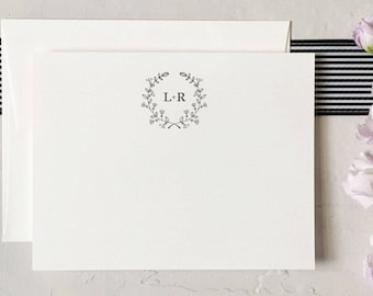 Personalized Couples Stationery - Couples Initials Note Cards - Wedding Stationery - Newlywed Stationery [Q317-012]