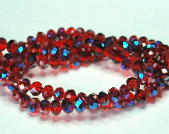 20 pcs 8x6mm Transparent Dark Red Fire Polished with Cobalt Blue Highlights Rondelle Glass Beads DR/FP/C