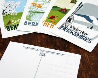 Set of four seasonal postcards of the berkshires